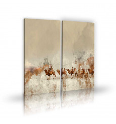 Tableau décoratif Camels At Sunset L 45 x H 100 cm (x2) - art moderne, intérieur abstrait design A282