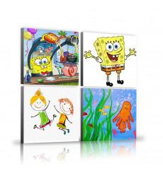 Tableaux décoratifs Kids pack - Spong bob 22 x 22 cm (x4) - intérieur décoration art, chambre enfant K315
