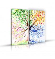 Tableau décoratif Tree in 4 seasons painting L 45 x H 100 cm x2 - intérieur décoration art, chambre, mur A317