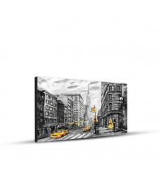 Tableau décoratif NY in gray and yellow L 45 x H 30 cm - interieur décoration, art moderne, chambre, mur A381