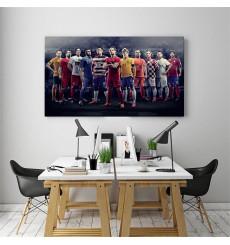 Tableau décoratif Football Stars L100 x H50 cm - intérieur design, décoration moderne, art abstrait