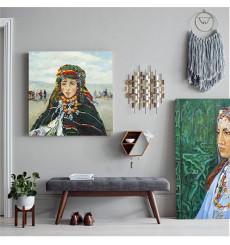 Tableau Young Imilchil girl L70 x H70 cm - interieur design abstrait art traditionnel