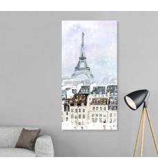 Tableau décoratif Eiffel Tower in Snow fall L 40 x H 100 cm - interieur design abstrait moderne art A458