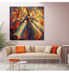 Tableau décoratif Dervish dance L 100 x H 100 cm - interieur design moderne abstrait art A467