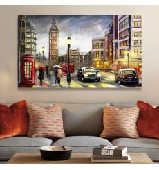 Tableau décoratif London city painting L100 x H60 cm - interieur design abstrait  art A469