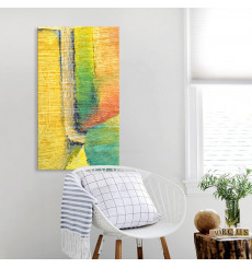 Tableau décoratif Abstract in yellow and green L 45 x H 100 cm - interieur design abstrait art