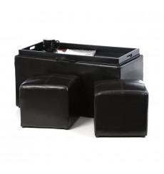 pack Valencia banc + 2 poufs et plateau de servic