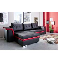 Canapé d'angle convertible ARIEL Noir et rouge 307x171 cm