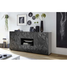 Buffet LUTHER en Anthracite 2 portes 2 tiroirs 181x84x42 cm