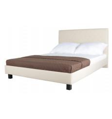 Lit double avec tête de lit matelassée 160x200 cm beige