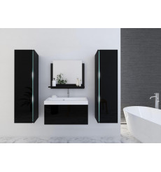 Meuble salle de bain SANDY noir laqué