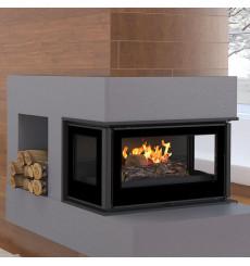Insert cheminée à bois Holguin avec turbine 16 kW 3 côtés vitrées