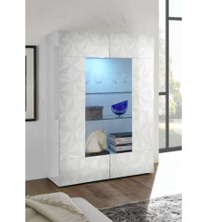 Vitrine 2 portes LUTHER en blanc 121x166 cm
