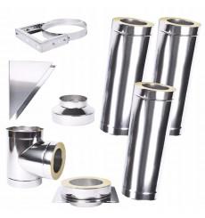 Kit conduit isolé 3m double paroi Ø 100/120/130/150/160/180/200 mm