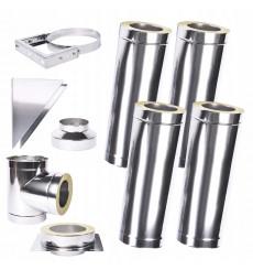 Kit conduit isolé 4m double paroi Ø 100/120/130/150/160/180/200 mm