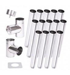 Kit conduit cheminée simple paroi de 14 m Ø 100/120/ 130/150/160/180/200 mm