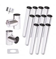 Kit conduit cheminée simple paroi de 11 m Ø 100/120/ 130/150/160/180/200 mm