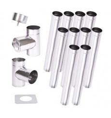 Kit conduit cheminée simple paroi de 10 m Ø 100/120/130/150/160/180/200 mm
