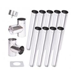 Kit conduit cheminée simple paroi de 9 m Ø 100/120/130/150/160/180/200 mm