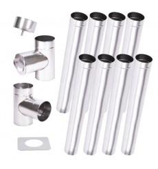 Kit conduit cheminée simple paroi de 8 m Ø 100/120/130/150/160/180/200 mm