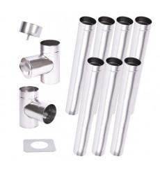Kit conduit cheminée simple paroi de 7 m Ø 100/120/130/150/160/180/200 mm