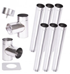 Kit conduit cheminée simple paroi de 6 m Ø 100/120/130/150/160/180/200 mm