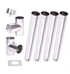 Kit conduit cheminée simple paroi de 4 m Ø 100/120/130/150/160/180/200 mm
