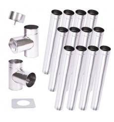 Kit conduit cheminée simple paroi de 12 m Ø 100/120/130/150/160/180/200 mm