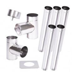 Kit conduit cheminée simple paroi de 5 m Ø 100/120/130/150/160/180/200 mm