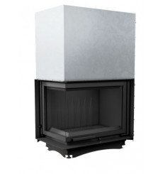 Insert cheminées à bois MELINIA porte guillotine 2 côtés vitrés, version Gauche 29 kW