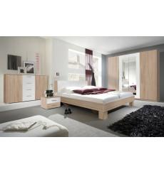 Chambre VERA 160x200 cm , blanc et chêne
