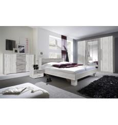 Chambre VERA 180x200 cm , blanc et gris cérusé