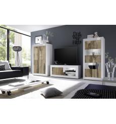 Salon complet BASIC blanc chêne péro