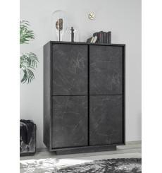 Argentier 4 portes VISCONTI finition Marbre noir 92x145x43 cm