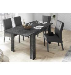 Table à manger extensible VISCONTI finition marbre noir 137-185/79/90 cm