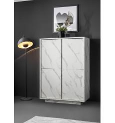 Argentier 4 portes VISCONTI finition Marbre blanc 92x145x43 cm