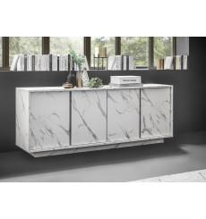 Buffet VISCONTI finition marbre blanc 180 cm
