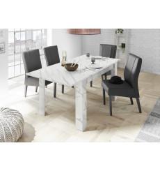 Table à manger extensible VISCONTI finition marbre blanc 137-185/79/90 cm
