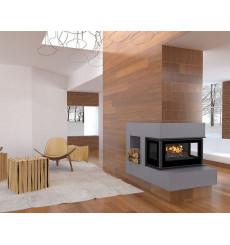 Insert cheminée à bois Holguin avec turbine 12 kW 3 côtés vitrées