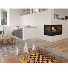 Insert cheminée à bois Holguin avec turbine 17,5 kW 2 vitres gauche