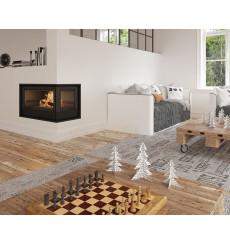 Insert cheminée à bois Holguin avec turbine 17,5 kW 2 vitres droite