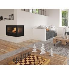Insert cheminée à bois Holguin avec turbine 11,5 kW 2 vitres droite