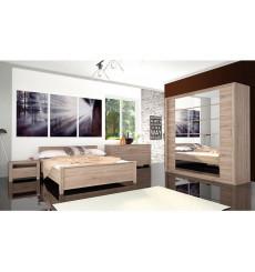 Chambre complète EBON chêne clair 140 x 200 cm