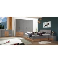 Chambre Linta , Gris laqué et chêne clair 180x200 cm