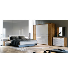 Chambre Niko , blanc laqué et chêne clair 180x200 cm