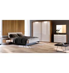 Chambre Niko II , blanc laqué et chêne clair 180x200 cm