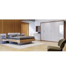 Chambre ASTO II , blanc laqué et chêne clair 180x200 cm
