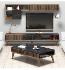 Salon complet TV MILAN marbre noir
