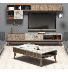 Salon complet TV MILAN marbre blanc