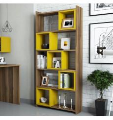 Bibliothèque BOX Noyer - jaune